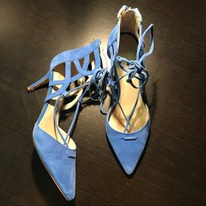 Marc Fisher Blue Truthe Suede Pumps Front Tie
